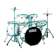 Peace DP-22DGD-GW White ударная установка из 5-ти барабанов, цвет белый, зеленые лаги, обода и стойки