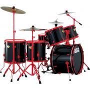 Peace DP-22DGD-RW White ударная установка из 5-ти барабанов, цвет барабанов белый, красные лаги, обода и стойки