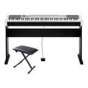 Casio CDP-130SR Цифровое фортепиано серебристое + банкетка + стойка СА-4 + накидка